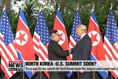 Trump says his next summit with North Korean leader Kim Jong-un could happen early next year