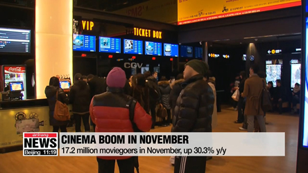 Number of moviegoers in local cinemas grows more than 30 percent on-year in November