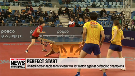 Joint Korean table tennis team once again teams up for action at 2018 ITTF Grand Finals