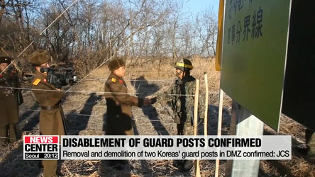 S. Korea confirms eleven N. Korean guard posts in DMZ have been disabled