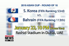 S. Korean football team to face Bahrain in Asian Cup round of 16