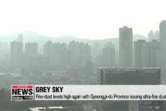 Fine-dust levels high again,... Gyeonggi-do Province issued ultra-fine dust alerts