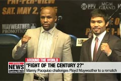Manny Pacquiao challenges Floyd Mayweather to a rematch