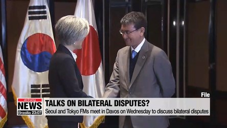 Seoul and Tokyo FMs meet in Davos on Wednesday to discuss bilateral disputes