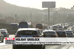 Heavy congestion being seen on highways as people travel for the Lunar New Year holidays