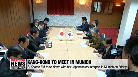 S. Korean FM sits down with her Japanese counterpart in Munich to discuss contentious issues