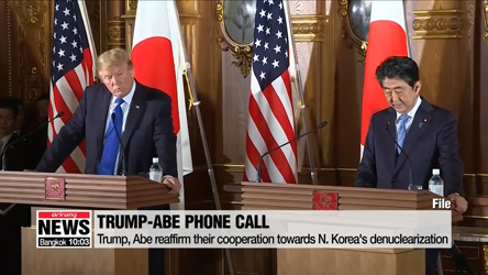 Trump, Abe discuss upcoming N. Korea-U.S. summit over phone