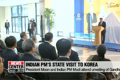 President Moon and Indian PM Modi attend unveiling of Gandhi bust