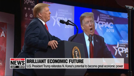 U.S. President Trump reiterates N. Korea's potential to become great economic power