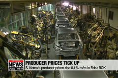 S. Korea's producer prices rise 0.1% m/m in Feb.: BOK