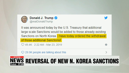 Trump cancels new sanctions on N. Korea