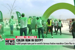 4,000 people take part in world's famous festive marathon Color Run in Egypt