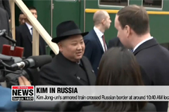 Kim Jong-un's armored train crosses North Korea-Russia border in the morning