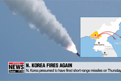 N. Korea presumed to have fired two short-range missiles towards easterly direction: JCS