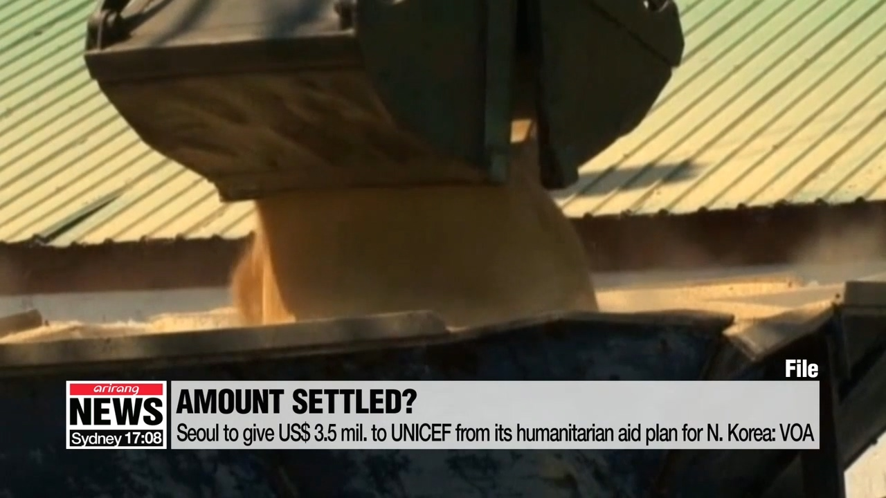 Seoul to give US$ 3.5 mil. to UNICEF from its humanitarian aid plan for N. Korea: VOA
