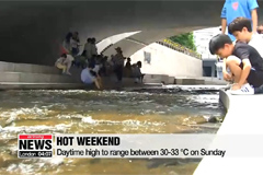 Daytime highs to top 30 degrees Celsius on Sunday