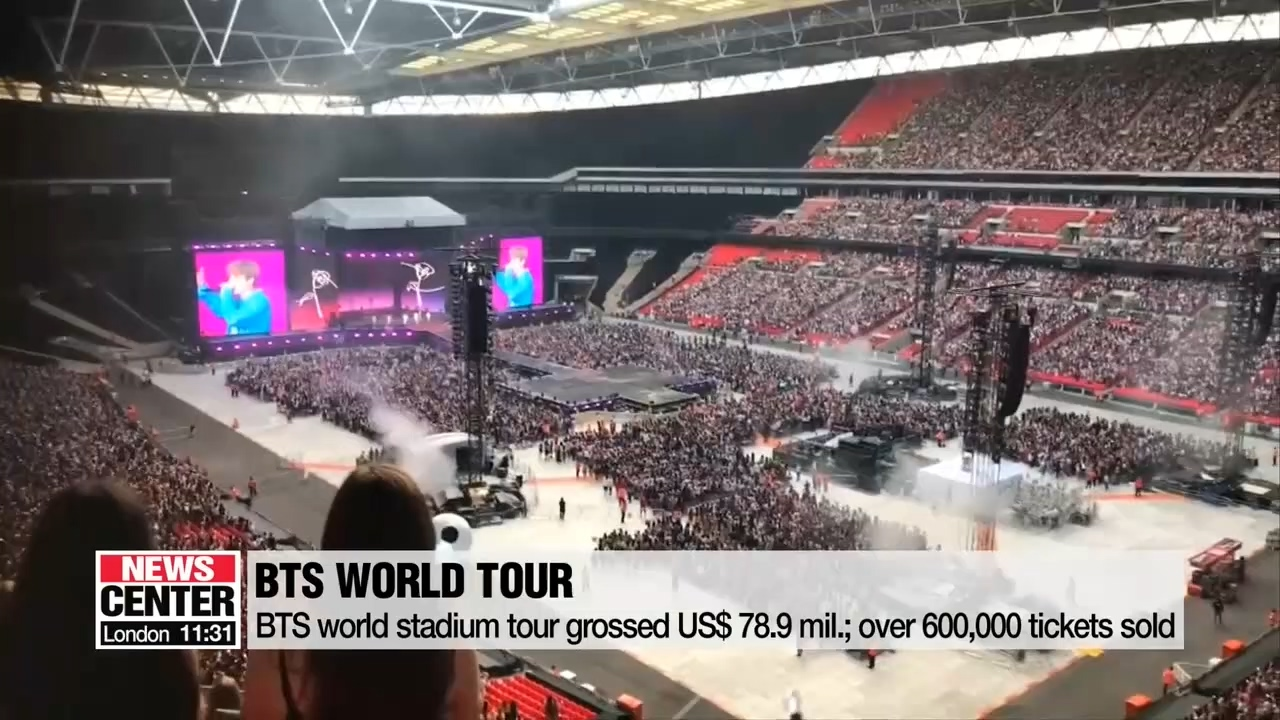 BTS world stadium tour grossed US$ 78.9 million, selling over 600,000 tickets