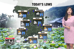 Passing showers across much of S. Korea, warmer highs
