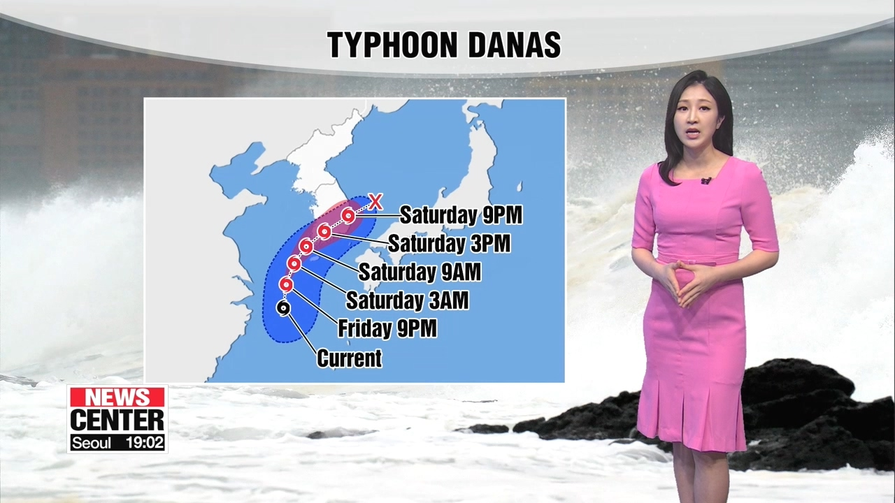 Typhoon Danas to give an impact on Korea's southeastern regions