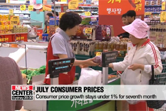 S. Korean consumer price growth stays below under 1% for seventh-straight month in July