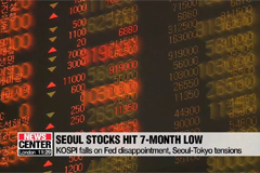 Seoul stocks drop to 7-month low amid Fed's timid rate cut, Seoul-Tokyo tensions