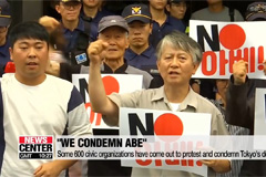Some 600 civic organizations have come out to protest and condemn Abe's decision