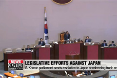 S. Korean parliament sends resolution to Japan condemning trade controls