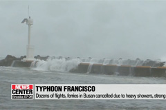 Flights, ferries cancelled in Busan as Typhoon Francisco moves north