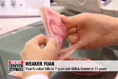 Yuan's basic exchange rate breaks 7 yuan per dollar mark for first time in 11 years