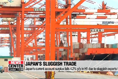 Japan's current account surplus drops 4.2% in H1 due to sluggish exports