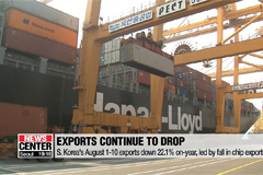 S. Korea's August 1-10 exports down 22.1% on-year, led by chips