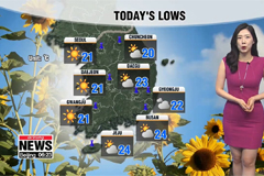 Hot and sunny during day, showers in southeast