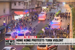Hong Kong police fire live round warning shot and use water cannon on protesters