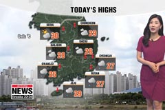 Downpours down south, lower daily highs
