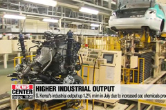 S. Korea's industrial output up 1.2% m/m in July due to increased car, chemicals production