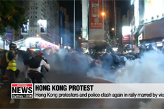 Hong Kong protesters and police clash again in rally marred by violence