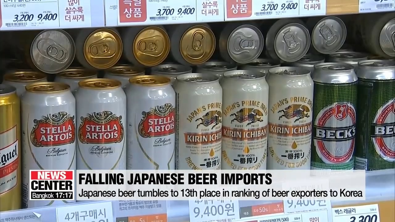 Japan pushed out of the list of top ten beer exporting countries to Korea