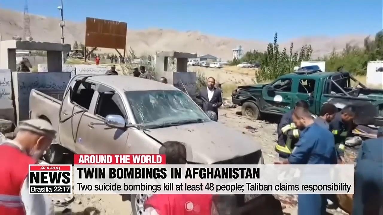 Two suicide bombings kill at least 48 people; Taliban claims responsibility