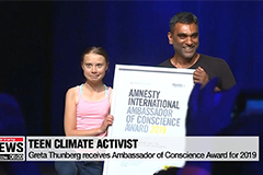 Teen climate activist Greta Thunberg receives Amnesty International's top honor of 2019