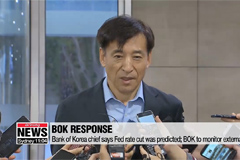 Bank of Korea chief says Fed rate cut was predicted; BOK to monitor external risks