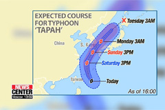 Typhoon Tapah expected to bring heavy rain nationwide starting from weekend