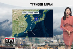 Typhoon Tapah weakens, skies brighten