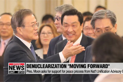 Moon says denuclearization and peace moving forward again
