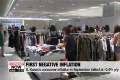 S. Korea's consumer inflation dips below zero for the first time in September
