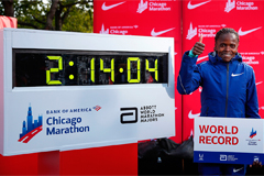 Brigid Kosgei smashes women's marathon world record and Eliud Kipchoge runs sub-two-hour marathon