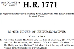 U.S. House committee passes bill on reuniting Korean-Americans with separated families in N. Korea