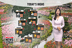 Warm in south, breezy in north with rain