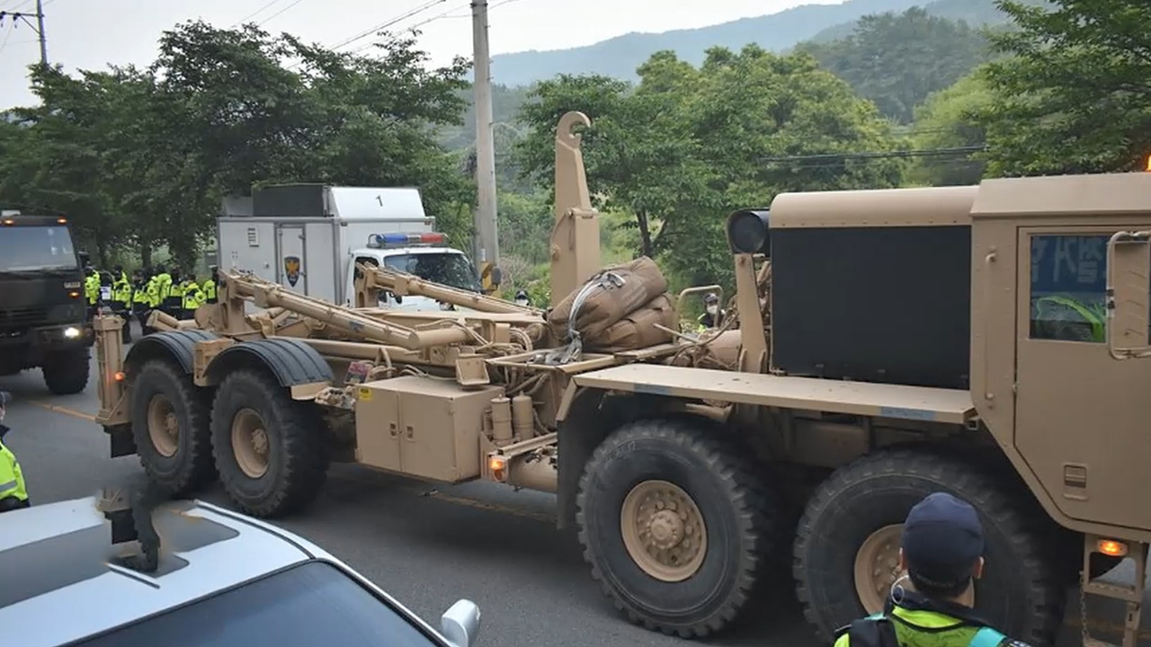 Military transports replacement equipment to U.S. THAAD base in Seongju