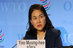 Seoul's trade minister Yoo Myung-hee delivers WTO chief candidacy speech, highlighting need for reform