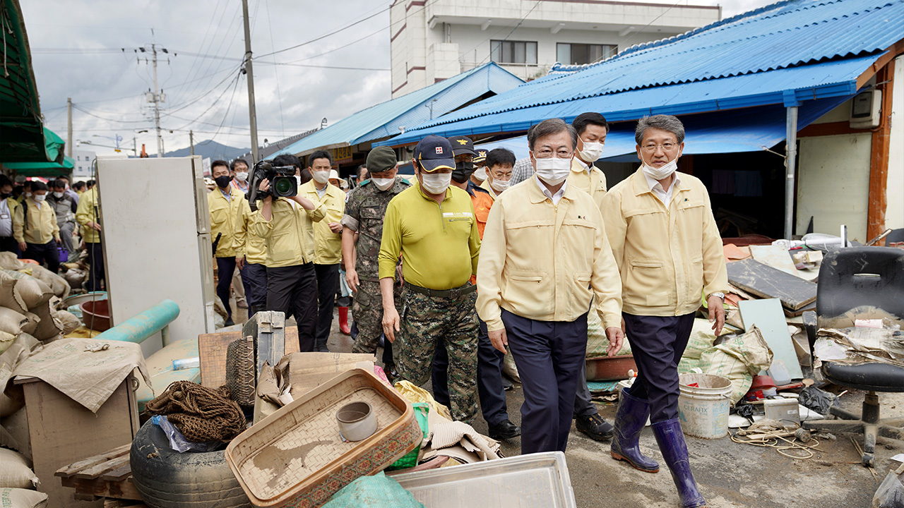 President Moon calls for speedy restoration efforts, financial support